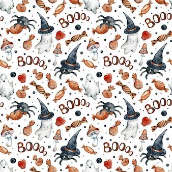 Aquarela sem costura padrão com bombons laranja de halloween, abóboras, fantasmas, cogumelos, chapéus pretos e espinhos