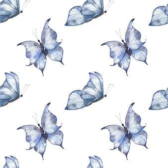 Aquarela sem costura padrão com borboletas azuis esvoaçantes sobre um fundo branco, ilustração de verão para cartões postais, tecidos, embalagens.