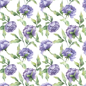 Aquarela sem costura padrão com botões de peônia flores de peônia lilás com folhas em um fundo branco