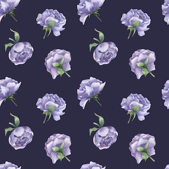 Aquarela sem costura padrão com botões de peônia flores de peônia lilás com folhas em um fundo escuro
