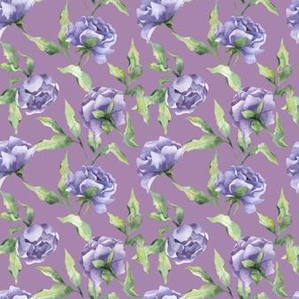 Aquarela sem costura padrão com botões de peônia flores de peônia lilás com folhas em um fundo roxo