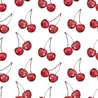 Aquarela sem costura padrão com cerejas maduras