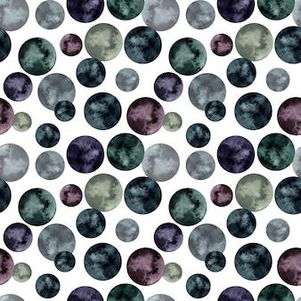 Aquarela sem costura padrão com círculos pretos e roxos.