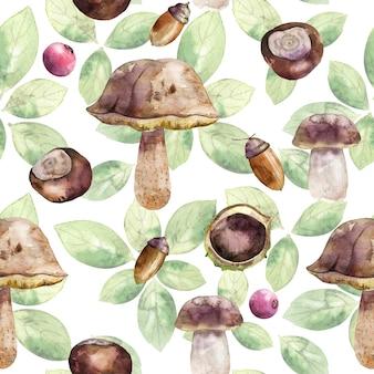 Aquarela sem costura padrão com cogumelos, bolota, castanha, folhas.