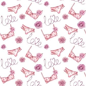 Aquarela sem costura padrão com conjunto de lingerie rosa e rosas