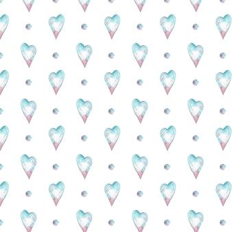 Aquarela sem costura padrão com corações azuis e rosa e bolinhas. fundo romântico.