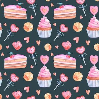 Aquarela sem costura padrão com corações rosa, bolos, geleias, doces.