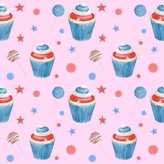 Aquarela sem costura padrão com cupcakes e paus