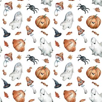 Aquarela sem costura padrão com doces de halloween laranja