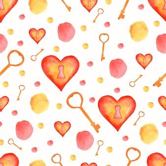 Aquarela sem costura padrão com elementos vermelhos e amarelos.
