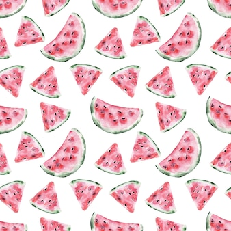 Aquarela sem costura padrão com fatias frescas de melancia madura