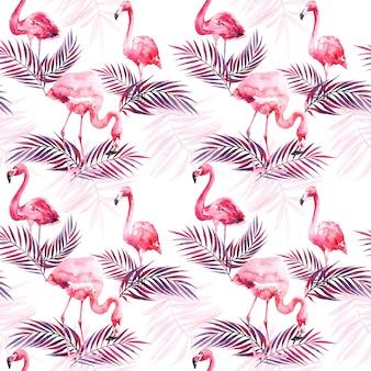 Aquarela sem costura padrão com flamingo e folhas tropicais coloridas.