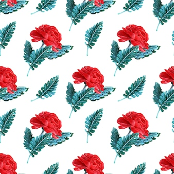 Aquarela sem costura padrão com flores da primavera, brotos e galhos com folhas