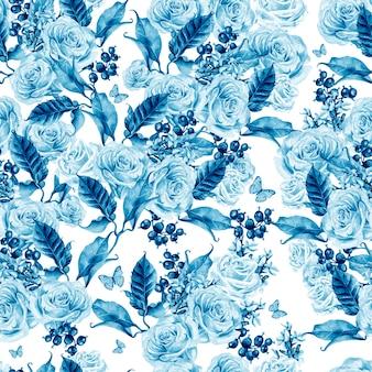 Aquarela sem costura padrão com flores e rosas lavanda, bagas de groselha e borboletas.