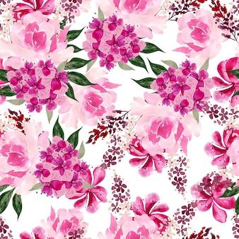 Aquarela sem costura padrão com flores rosas, peônia e hortênsia. ilustração