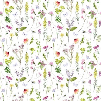 Aquarela sem costura padrão com flores silvestres e grama com abelhas e borboletas. desenho floral