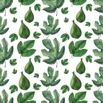 Aquarela sem costura padrão com folhas de figo e frutas