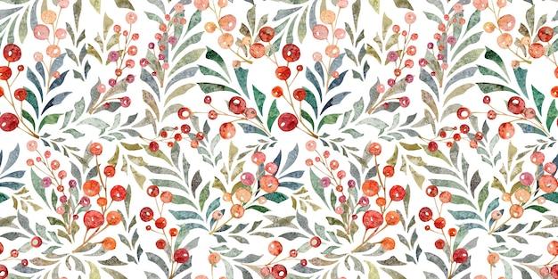 Aquarela sem costura padrão com folhas ramos bagas vermelhas isoladas no fundo branco