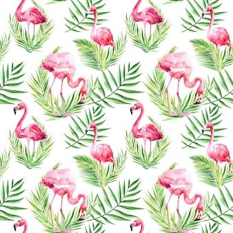 Aquarela sem costura padrão com folhas tropicais e flamingo.
