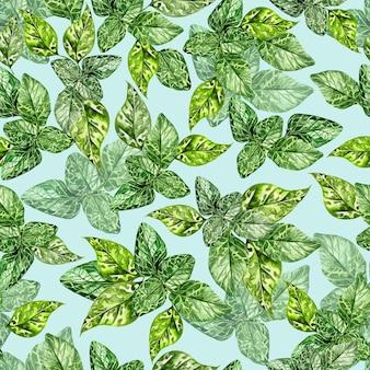 Aquarela sem costura padrão com folhas verdes de hortelã em fundo azul claro