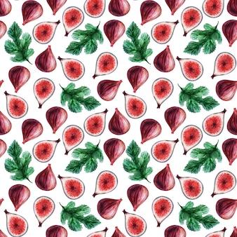 Aquarela sem costura padrão com frutas e folhas de figo