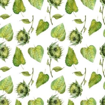 Aquarela sem costura padrão com girassóis brilhantes, folhas e brotos da planta