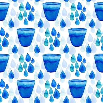 Aquarela sem costura padrão com gotas de água e vidro.
