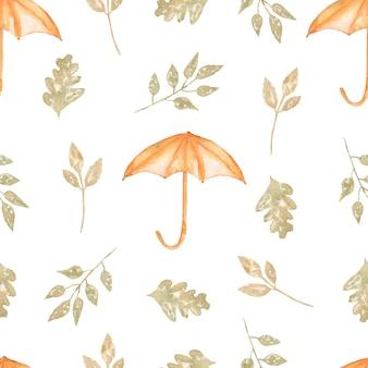 Aquarela sem costura padrão com guarda-chuva e folhas.