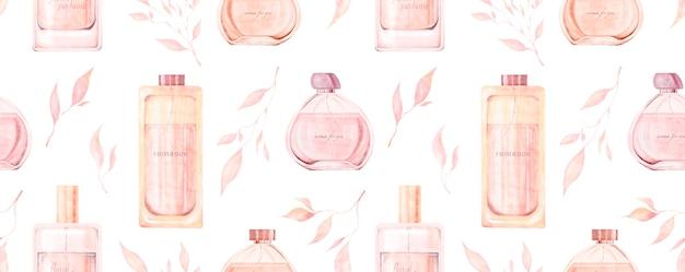 Aquarela sem costura padrão com ilustração de frascos de perfume isolados em um fundo branco