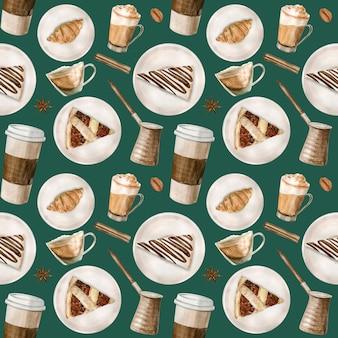 Aquarela sem costura padrão com ilustrações de café