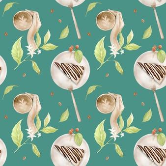 Aquarela sem costura padrão com ilustrações de xícara de café, grãos de café, moedor de café, cappuccino, café com leite e sobremesas