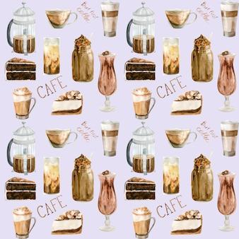 Aquarela sem costura padrão com ilustrações de xícara de café