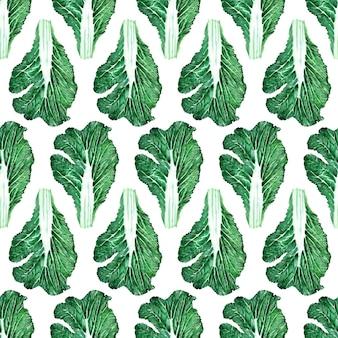 Aquarela sem costura padrão com imagens de vários tipos de repolho. cabeças e folhas de pequim e repolho branco
