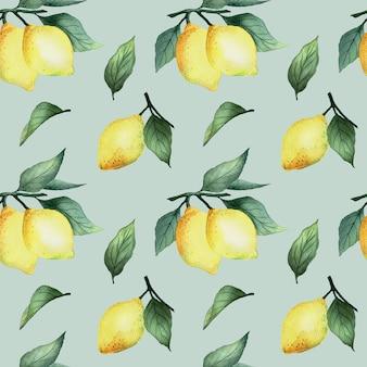 Aquarela sem costura padrão com limões amarelos brilhantes e folhas em um fundo azul, design de verão brilhante.
