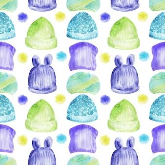 Aquarela sem costura padrão com o tema tricô