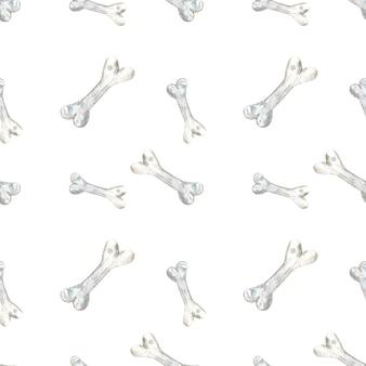 Aquarela sem costura padrão com ossos no fundo branco perfeito para fazer cartões convites para festas papelaria etiquetas para festas logotipos de design de blog scrapbooking digital embalagem de papel de embrulho