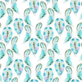 Aquarela sem costura padrão com penas