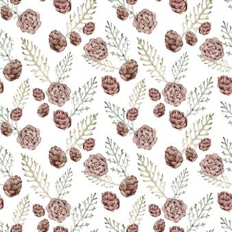 Aquarela sem costura padrão com ramos de zimbro e cones. fundo da floresta de inverno. padrão botânico de natal e ano novo.