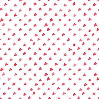 Aquarela sem costura padrão com retalhos de costura estilizada. corações e círculos