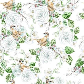 Aquarela sem costura padrão com rosas brancas e flores de jasmim, pássaros. ilustração