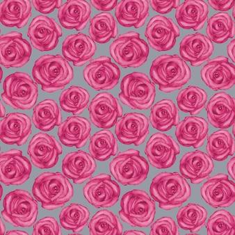Aquarela sem costura padrão com rosas desenhadas à mão na superfície cinza