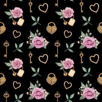 Aquarela sem costura padrão com rosas e fechaduras e chaves douradas. fundo romântico. dia dos namorados amor padrão.