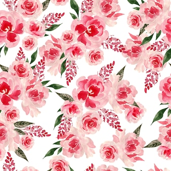 Aquarela sem costura padrão com rosas e flores peônia. ilustração