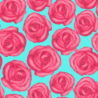 Aquarela sem costura padrão com rosas vermelhas desenhadas à mão na superfície turquesa