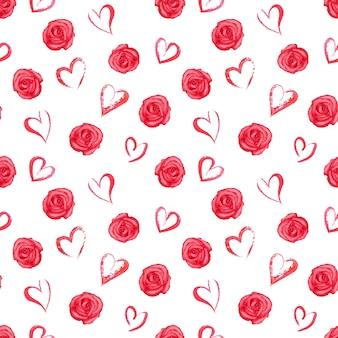 Aquarela sem costura padrão com rosas vermelhas e corações na superfície branca