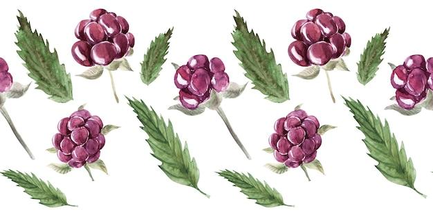 Aquarela sem costura padrão com várias frutas