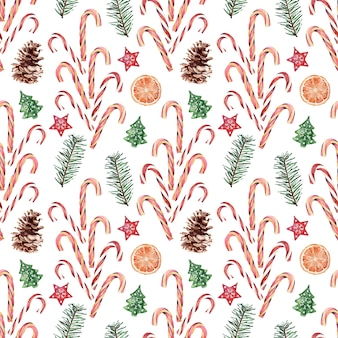 Aquarela sem costura padrão com vários atributos festivos de feriados de ano novo