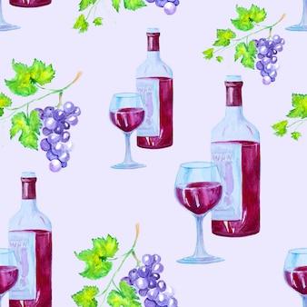 Aquarela sem costura padrão com vinho tinto e uvas