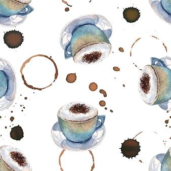 Aquarela sem costura padrão com xícaras de café e marcas de café