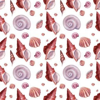 Aquarela sem costura padrão conchas coloridas marinhas com madrepérola